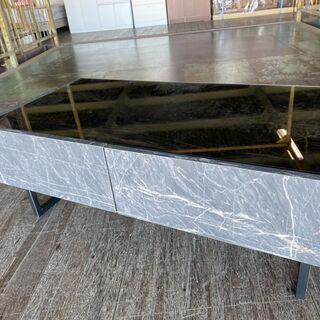 大理石風センターテーブル!天板はガラス!そして引き出し付き…