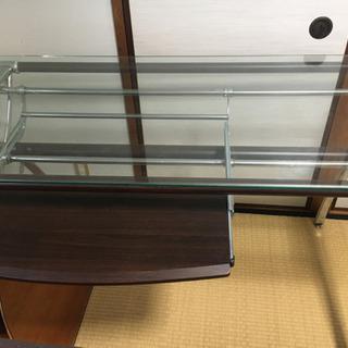 【ネット決済】ガラス天板 パソコンデスク