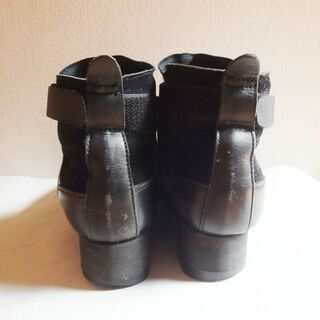 ☆レザー×ヌバック・フロントゴア・ブーツ・ブラック - 靴/バッグ