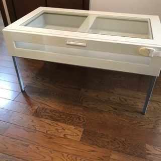 ローテーブル ガラステーブル シンプル 白 ホワイト