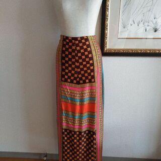 カラフル レトロ ロングスカート
