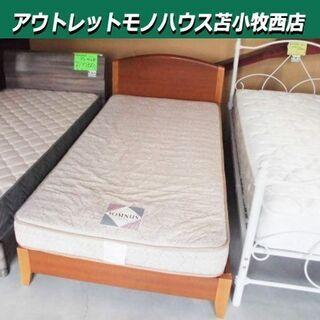 シングルベッド マットレス 幅98×奥201×高80cm 木製 ...