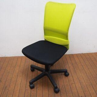 オフィスチェア メッシュ チャットチェア グリーン ① (GA36)