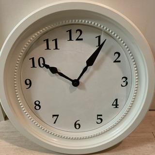 【美品】お洒落IKEAシンプル ホワイト壁掛け時計