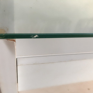 引き出し付きガラステーブル - 家具