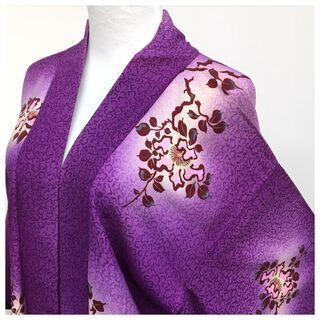 羽織 アンティーク 紫 花模様 身丈91 裄58 正絹 中古品