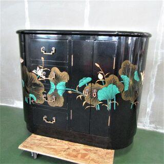 N1718・ チェスト 4段 家具 工芸品 サイドボード ブラッ...