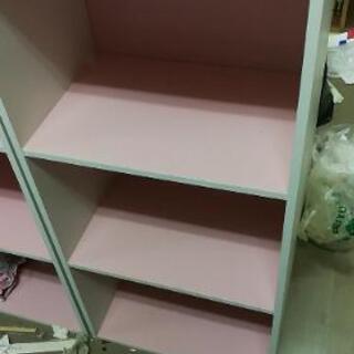 カラーボックス ホワイト&ピンク