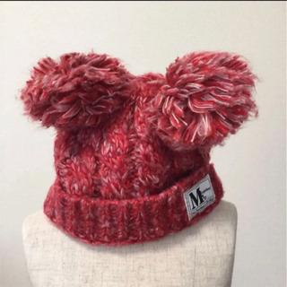 ニット帽 ミッキー 赤