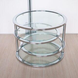 ガラス 飾り台 テーブル 丸型 折り畳み [1025-10]