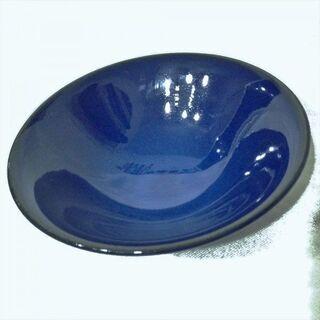 濱登久 瑠璃釉 中皿 汎用器 木箱付き 青