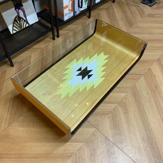 ガラス天板ディスプレイテーブル(ネイティブ柄)