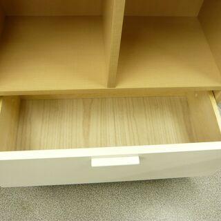 【展示品】コモディ 引出し付き 4段 収納棚 本棚 COD-1360H NA-00 ホワイト/ナチュラル系 西岡店 − 北海道
