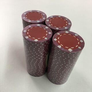 カジノチップ トランプ柄  赤×白 100枚 新中古