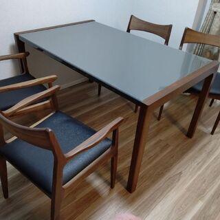 【ネット決済】新品未使用!ウォルナット ダイニングテーブル&椅子...