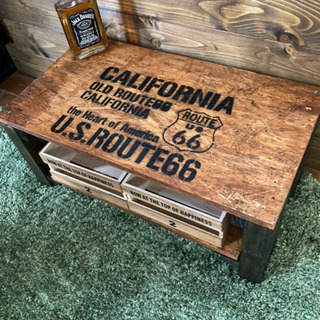 お洒落 カリフォルニア  アンティーク OCB木材 テーブル