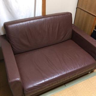値下げ☆大特価 無印 1.5シーター レザーソファ クリーニング...