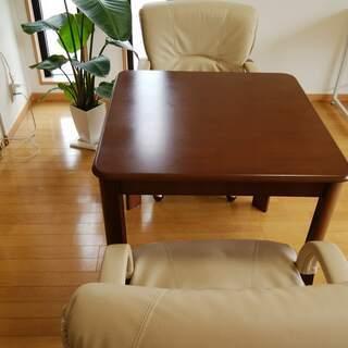 ゆったり椅子 360度回転 ダイニングセット ブラウン 二人用 ...
