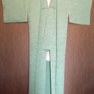 正絹 色無地の着物 セージグリーン色