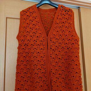 毛糸手編みのベスト。未使用品