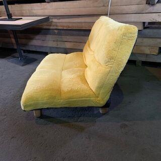 ローソファー 1~2人掛 黄色 リクライニング 脚付き オシャレ 配送OK 早いもの勝ち 格安 - 家具