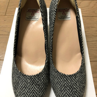 【美品】レディース Sサイズ★23cmくらい★チェック靴ヒールシ...