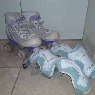 ローラースケート 21-22cm 膝肘プロテクター付