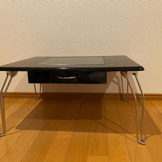 【ネット決済】引出し付折りたたみテーブル(ブラック)