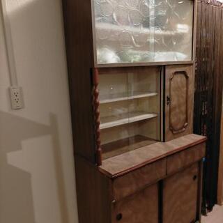 レトロ食器棚 木目、ガラス 引き出し付き