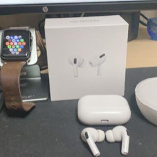 初代Apple Watch、AirPodspro、卓上充電器セット - パソコン