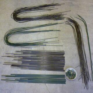 胡蝶蘭に使用されていた支柱針金多数 茶色と緑色 針金形状3種類