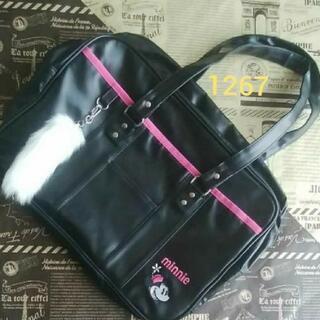 1267美品黒合皮ミニーちゃんスクールバッグ