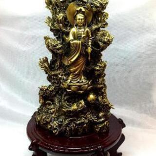 九龍観音像 銅製 置物 アンティーク 工芸品 仏教 台座