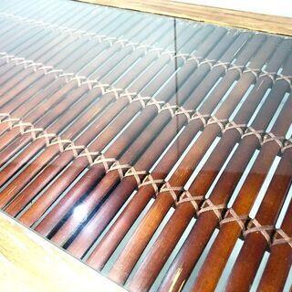 アジアン家具 ウ゛ィンテージ風 コーヒーテーブル センターテーブル 天板ガラス - 空知郡