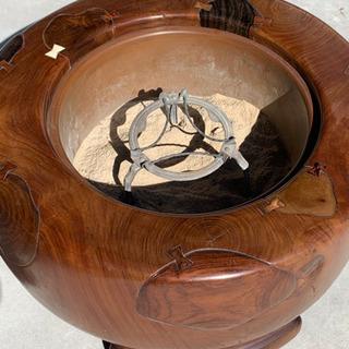 ◆最終値下げ◆火鉢 天然木 五徳  灰付き アンティーク