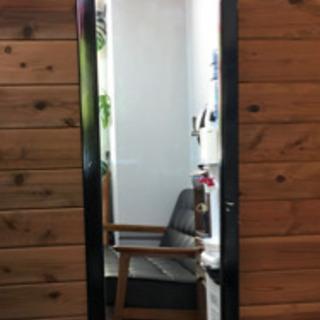 スタンド式 姿見 鏡 ブラック