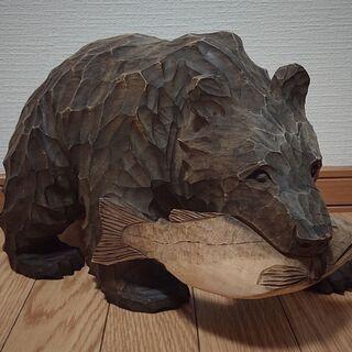 古い木彫りの熊 迫力あるサイズです!