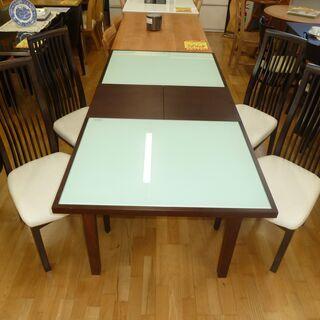 k54☆伸長ダイニングテーブル5点セット☆ダイニングテーブル+椅...