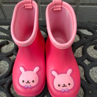 長靴 女の子 ピンク うさぎ 14cm