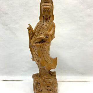 木彫り 観音様 観音菩薩像 仏像 高さ60㎝ 重量4.2㎏…