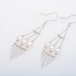 K18WG アコヤ真珠 アメリカンピアス (スイング) 品…
