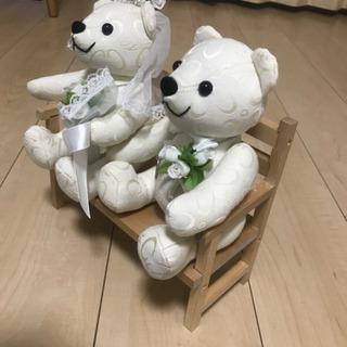 4℃のクマのぬいぐるみペア+専用ベンチ