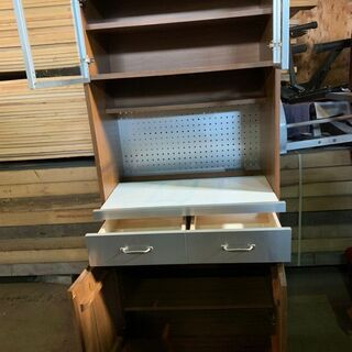 ウニコ UNICO STRADA キッチンボード 食器棚 W80 木目 オシャレ 配送OK - 札幌市
