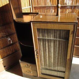 昭和レトロ 木製 アンティーク本棚 引き出し付 の画像