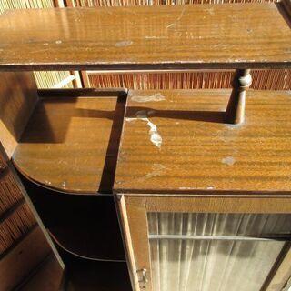 昭和レトロ 木製 アンティーク本棚 引き出し付  - 河北郡