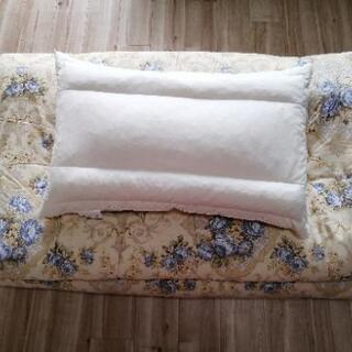 美品羽毛敷き布団枕セット