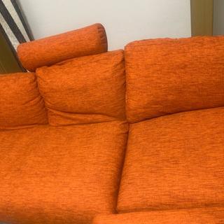 カウチ付きソファオレンジ 3人座れます 期間限定値下げ🔥