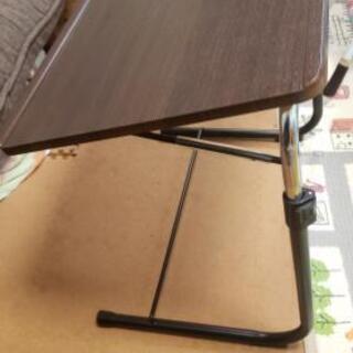 サイドテーブル ブラウン 折りたたみ式