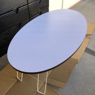 美品 オーバル型の折り畳みローテーブル
