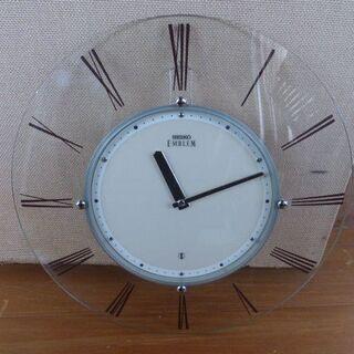 セイコー 高級電波 掛け時計 エンブレム 曲げガラス